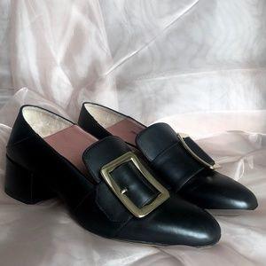 BALLY Janelle Black Calf Block Heel Pumps